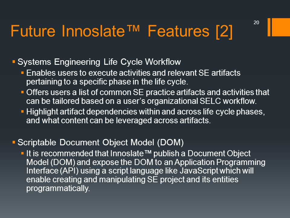 Future Innoslate™ Features [2]